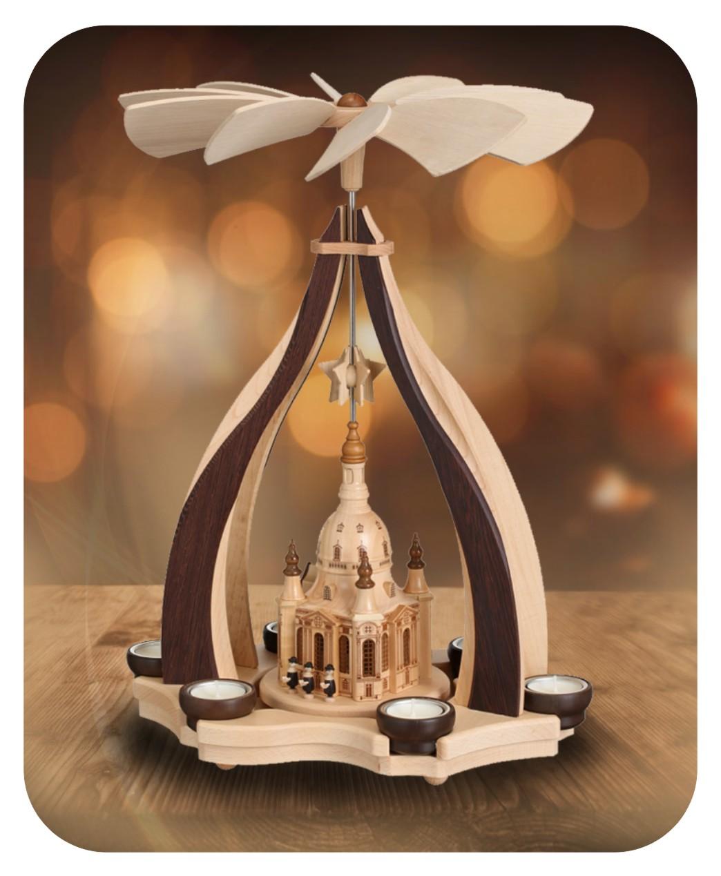 Design-Pyramide mit  Dresdner Frauenkirche  für sechs Teelichter