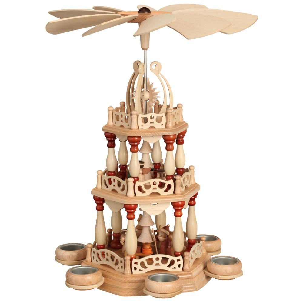 Tischpyramide 3-stöckig Weihnachtsmann mit Schlitten für 6 Teelichter