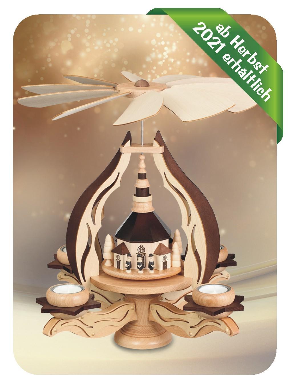 Leuchterpyramide Seiffner Kirche für 4 Teelichter