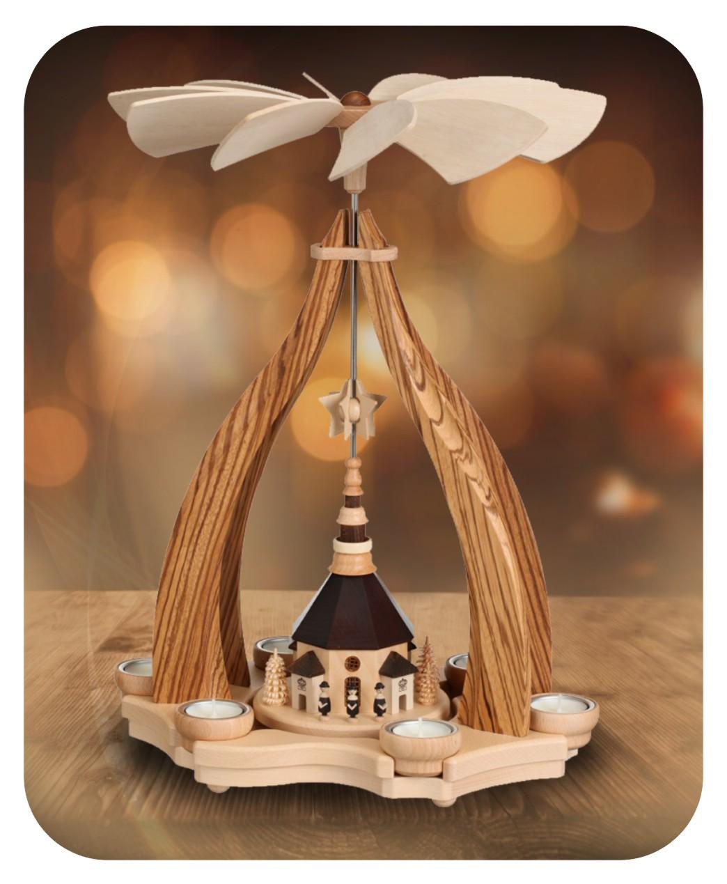 Design-Pyramide Seiffener Kirche für sechs Teelichter
