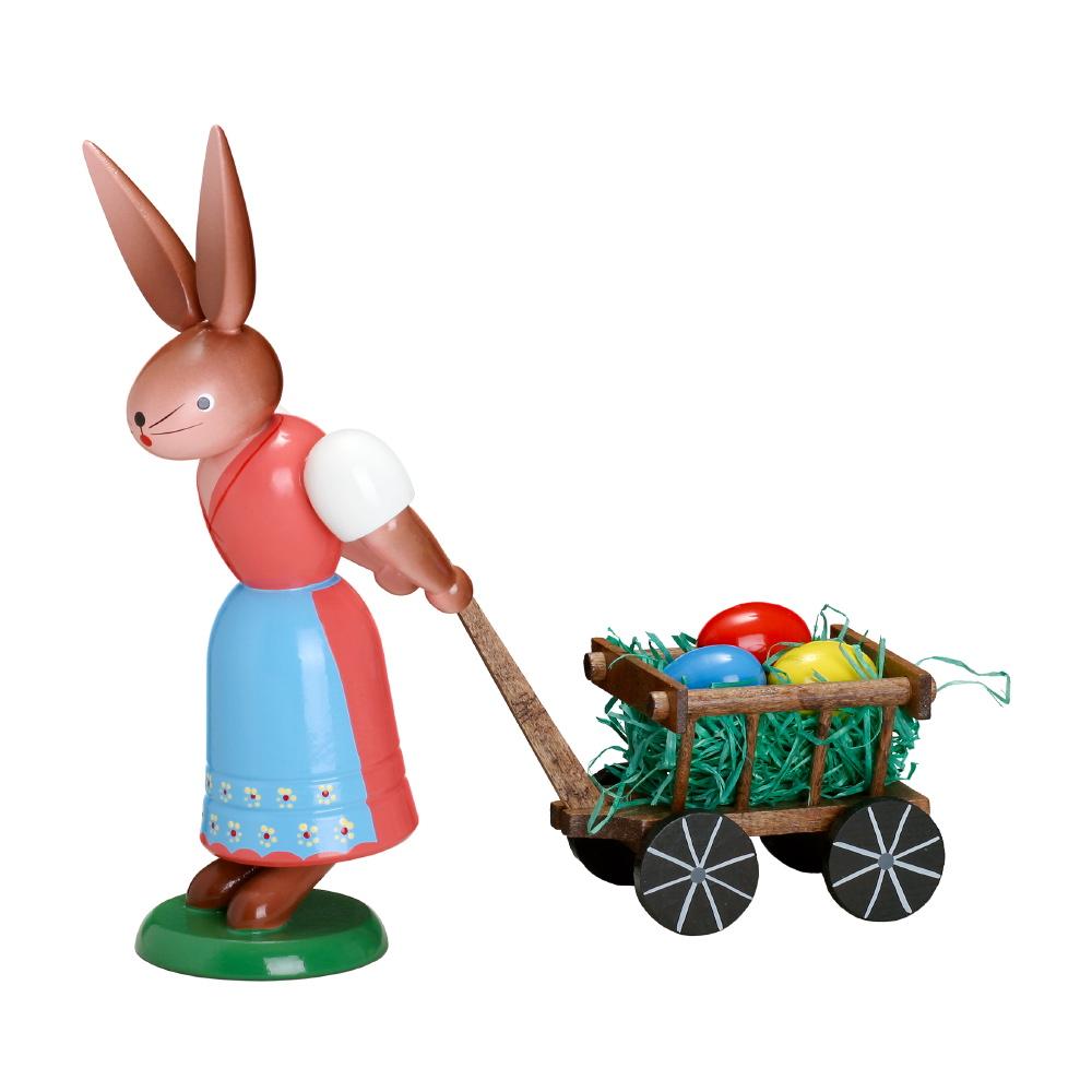Hasenfrau mit Handwagen