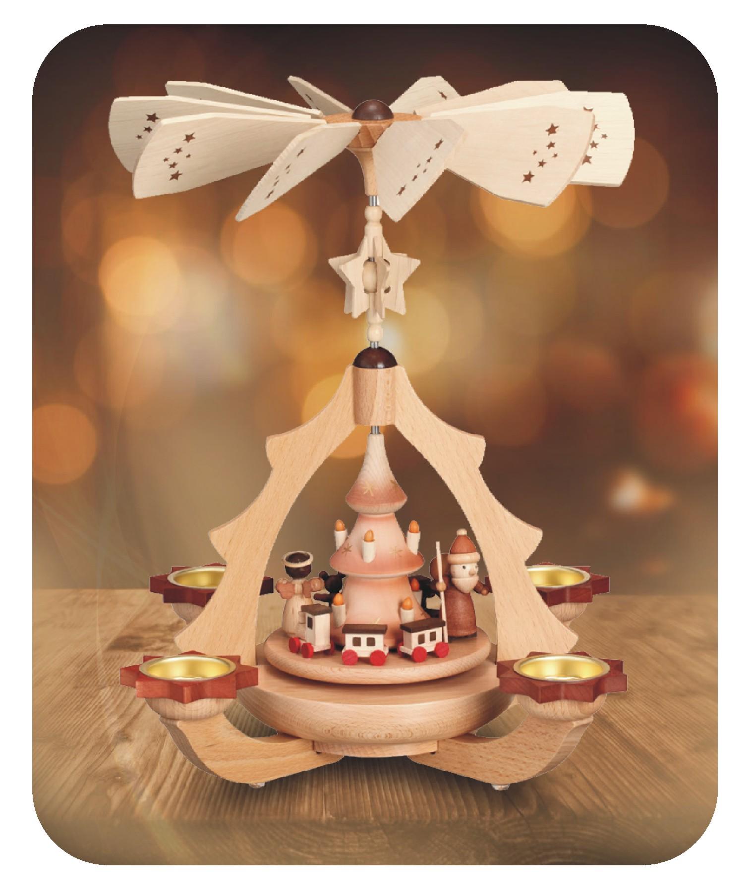 Leuchterpyramide Bescherung für 4 Teelichter