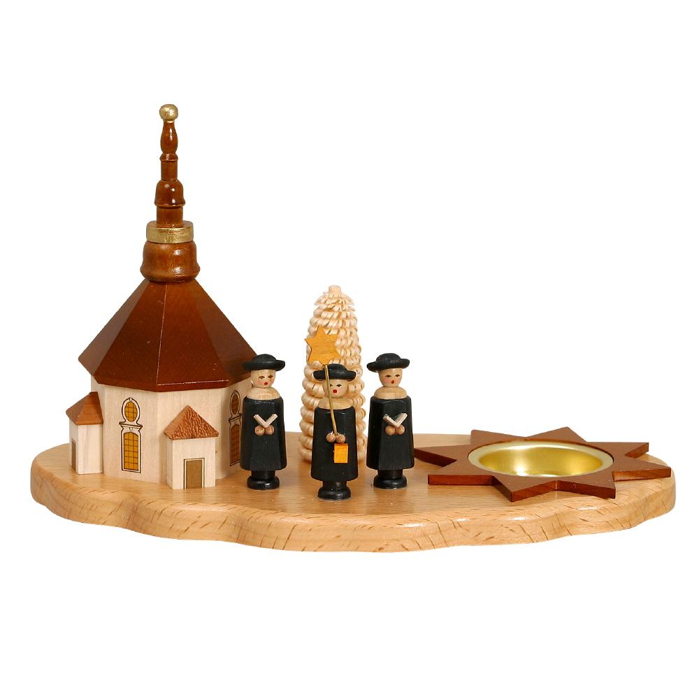 Kerzenhalter Seiffener Kirche, Kurrende und Bäumchen
