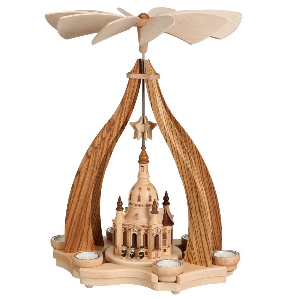 Design-Pyramide Dresdner Frauenkirche für sechs Teelichter
