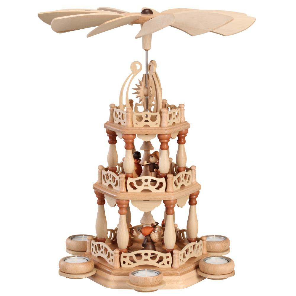 Tischpyramide 3-stöckig Waldmotiv für 6 Teelichter