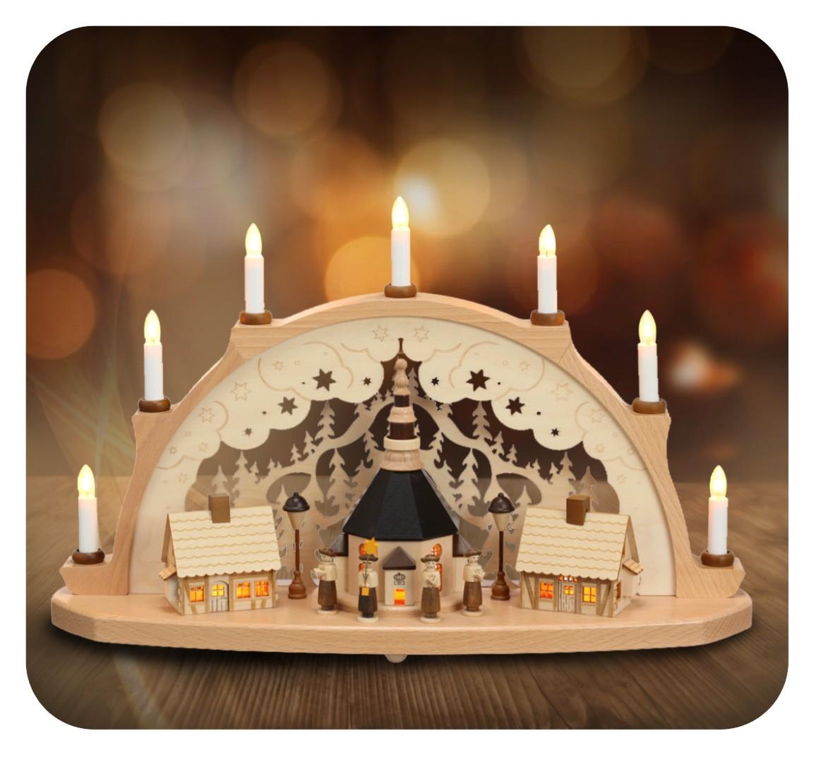 Schwibbogen Seiffener Kirche und Häuser