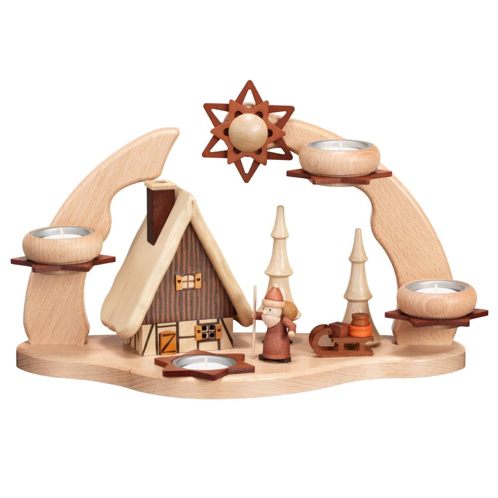 Adventsbogen mit Rauchhaus und Weihnachtsmann