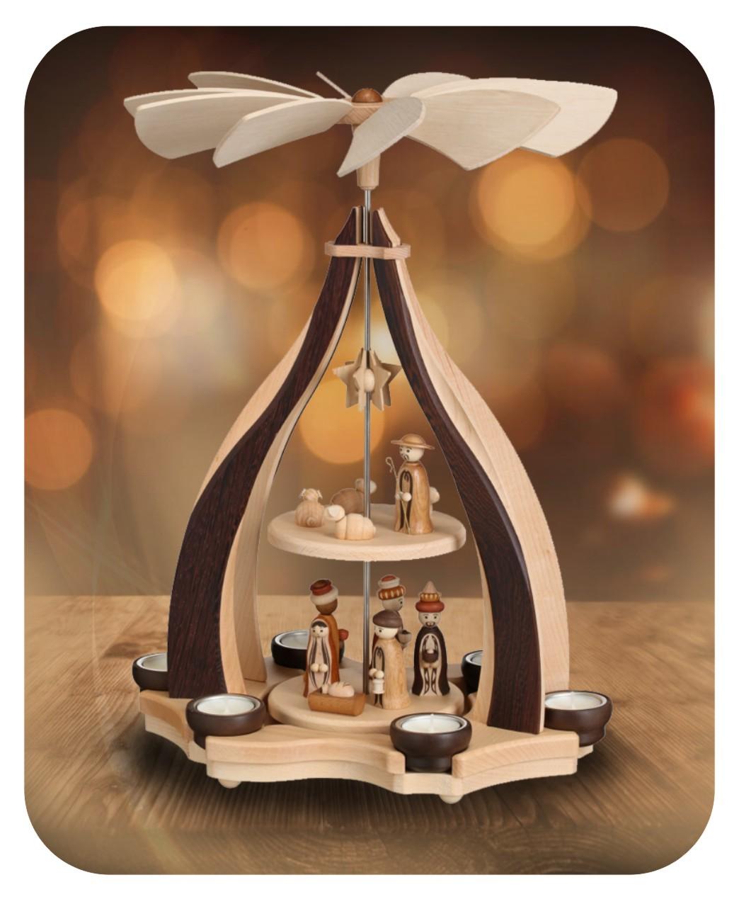 Design-Pyramide Christi Geburt für sechs Teelichter