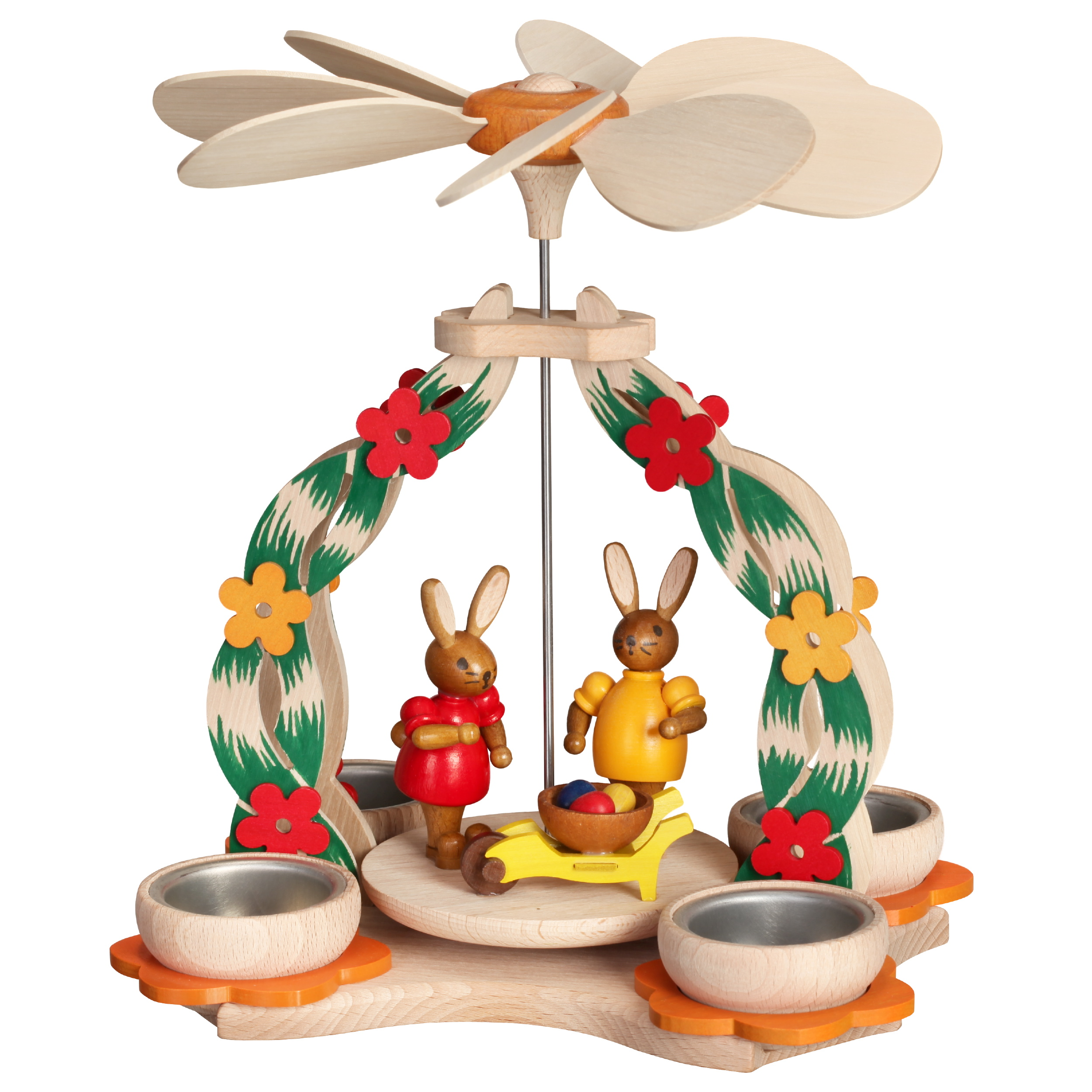 Tischpyramide mit Hasenpaar und Schubkarre