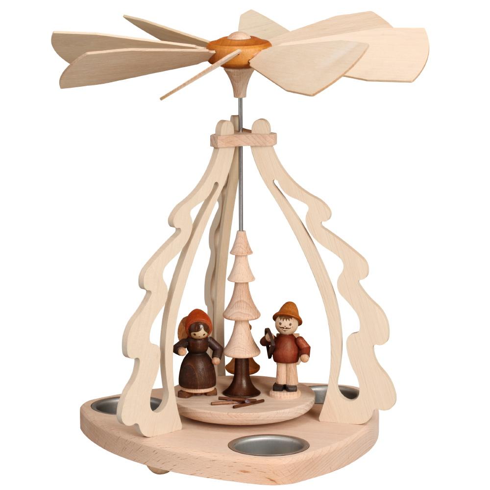 Tischpyramide mit Waldfiguren für 3 Teelichter