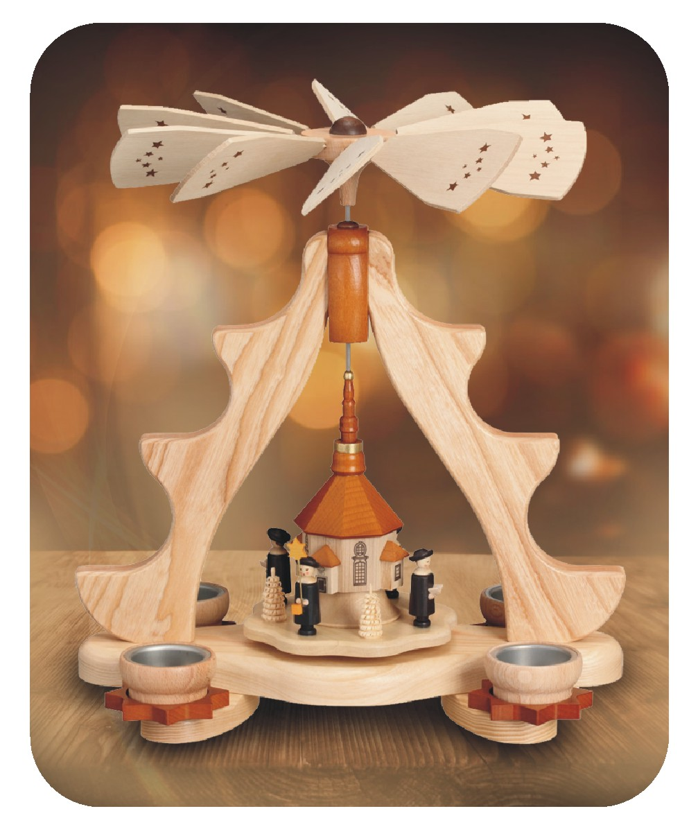 Pyramide Seiffner Kirche für 4 Teelichter