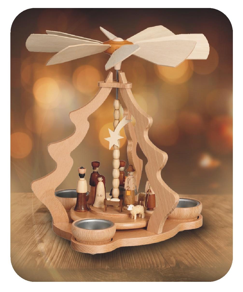Tischpyramide mit Christi Geburt 10 teilig für drei Teelichter