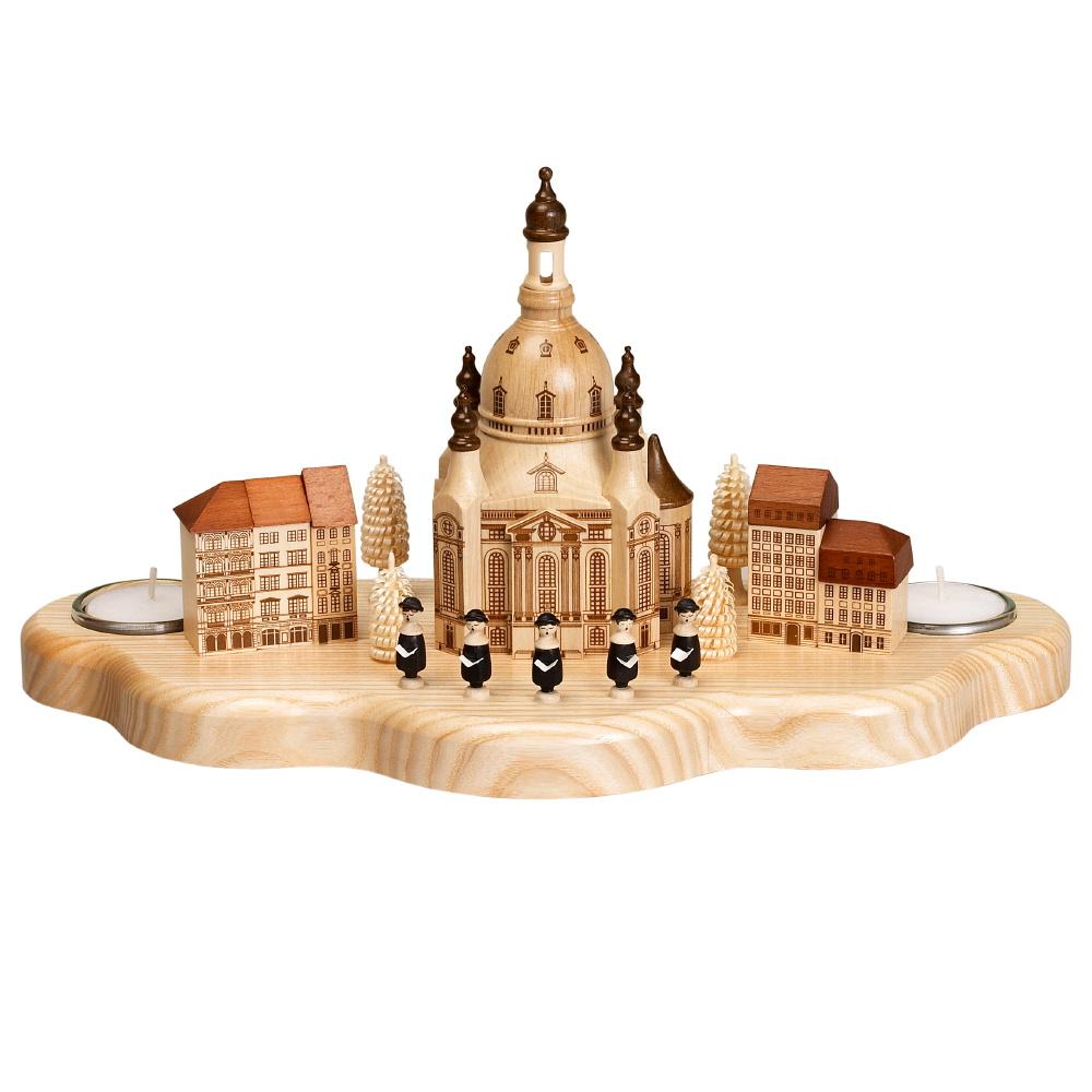 Kerzenhalter Dresdner Frauenkirche, Häuser, Neumarkt, Sänger und Bäumchen