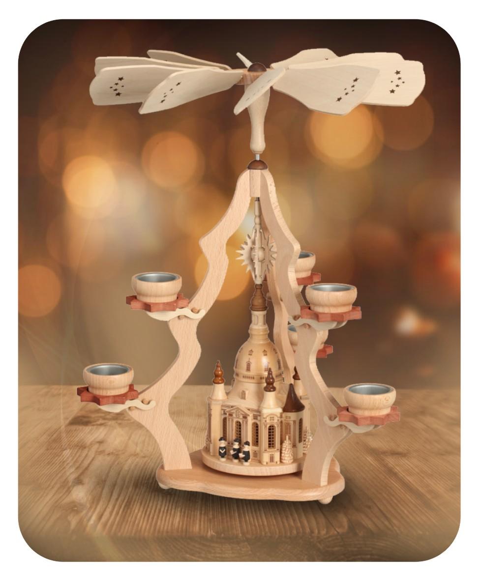 Tischpyramide mit Dresdner Frauenkirche für sechs Teelichter