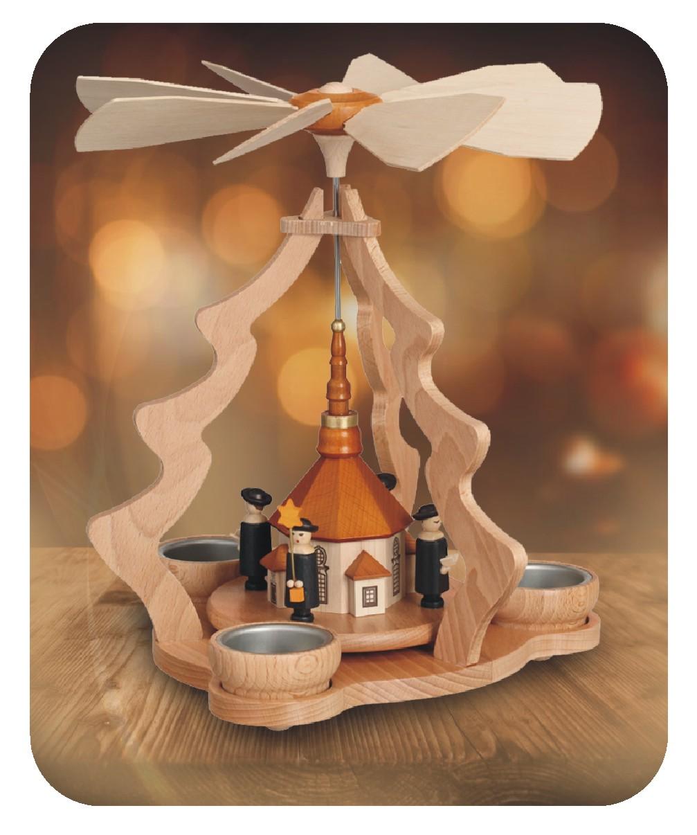 Tischpyramide mit Seiffener Kirche und Kurrende für drei Teelichter