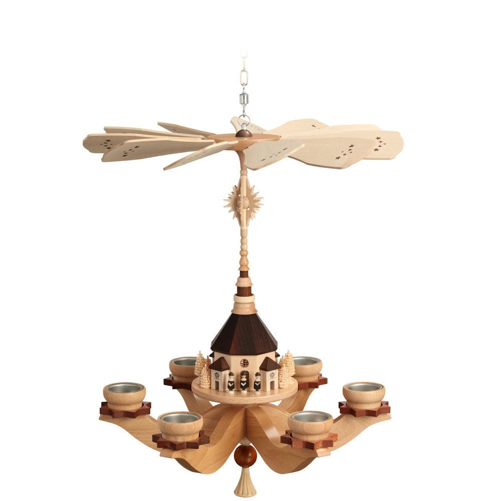 Hängepyramide Seiffener Kirche für sechs Teelichter