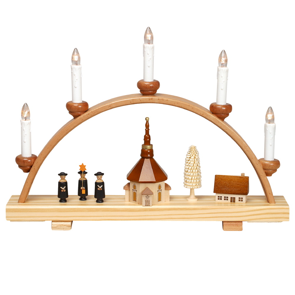 Schwibbogen Seiffener Kirche und Kurrende